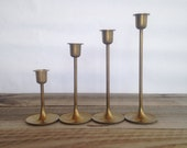 Vintage Brass Candleholders, Set of Four, Staggering Candlesticks, Made in Taiwan, Mid Century style