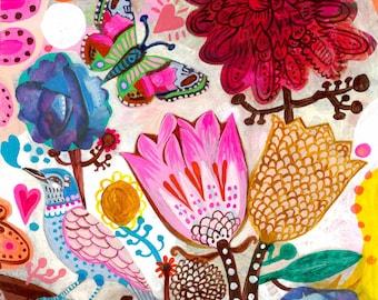 Lovely Morning - Fine Art Print, painting flowers, bohemian, folk, funky, naive, primitive.
