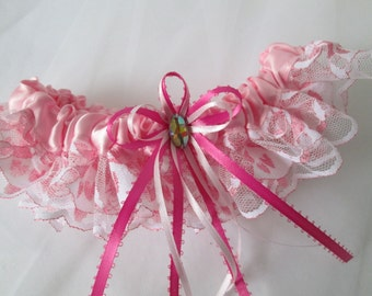Pink Prom Garter with Hearts, Pink Wedding Garters, Pink Lace Bridal Garter, Vintage- Rustic- Country Bride