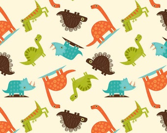 Flannel - Dinosaur Toss in Cream - 1 yard