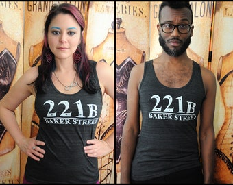 221B Baker Street. American Apparel UNISEX tri-blend tank top, size extra small