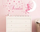 Fairy Wall Decal Baby Girl Room Nursery Sticker Personalized Name Wall Decor Stars Wall Decal Moon Wall Decal Fairy Wall Sticker