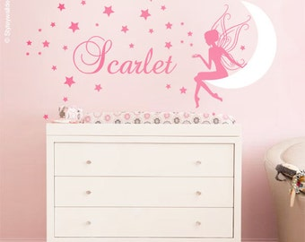 Fairy Wall Decal Baby Girl Room Nursery Sticker Personalized Name Wall  Decor Stars Wall Decal Moon