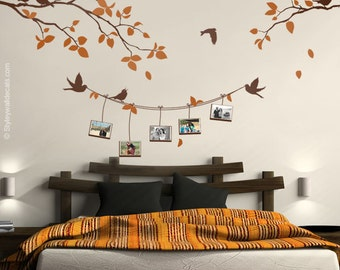 Photo Frames and Branch Wall Decal, Branch with Birds Picture Photo Frames Wall Decal, Photo Frames Wall Decal Nature Sticker Home Decor