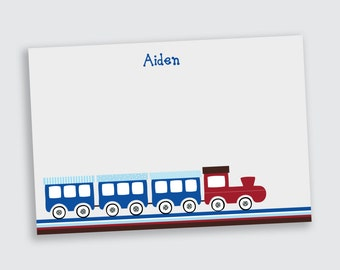 Train Notecard / Stationery for Boys - Personalized - Printable File