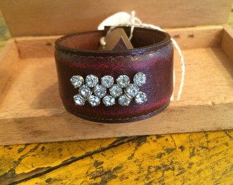 Leather cuff bracelet, recycled brown leather belt with vintage  rhinestone brooch,cream hand dyed grosgrain ribbon