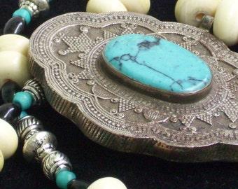 Vintage Turquoise Silver handmade pendant  Bone Necklace