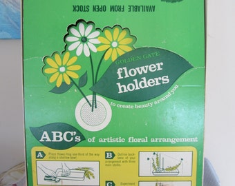 Vintage Flower Frogs Set of 9 in Original Box Golden Gate Spiked Flower Holders New Old Stock