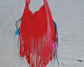 Reserved for Sylv XL Fuchsia Fringe Bag with Beads and Feathers