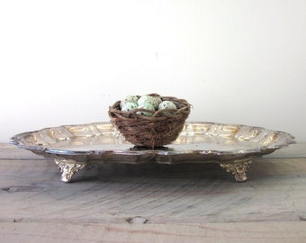 Oval Silver Plate Footed Tray