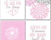 Pink Gray Wall Art Kids Wall Art I'll Love You Forever Dandelions Floral Nursery Art Baby Girl Nursery Decor Quote, Set of 4, Art Prints