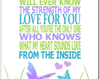 Nursery Art, Baby Girl, Kids Wall Art, Butterflies, No One Else Will Ever Know The Strength of My Love, Purple, Teal, Green, 8x10 Print