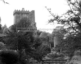 Blarney Castle Ireland black and white photograph