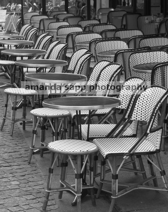 Paris bistro cafe chairs black and white fine art photo