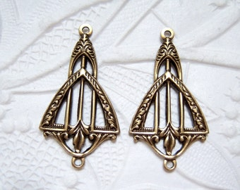 2 - Art Deco 2-ring brass ox connector earring pendant stampings - AD183