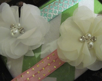 Your choice metallic turquoise silver or pink metallic gold dotted headband with white flower