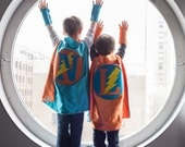 TURQUOISE and ORANGE Personalized Boy Superhero Cape with Bolt - Choose the Initial - Pretend Play or Halloween Costume
