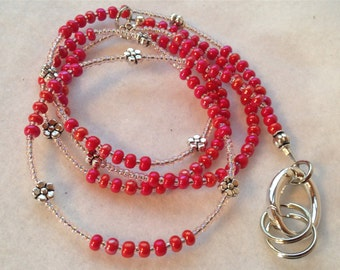 Shimmer Red ID Badge Lanyard with silver flowers and petite keyrings