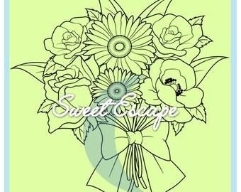 Pretty Flowers Digital Stamp