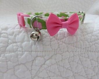Leopard Hot Pink Green with  bell Breakaway Collar Custom Made