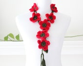 Crochet Red and Olive Green Flower Lariat  Necklace, Scarf, Scarflette