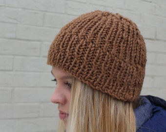 Chunky Knit Ribbed Hat Camel, Alpaca Merino Wool Toque, Merino Wool Beanie, Brown Merino Hat, Warm Wool Hat, Knit Hats Men Women, Knit Cap