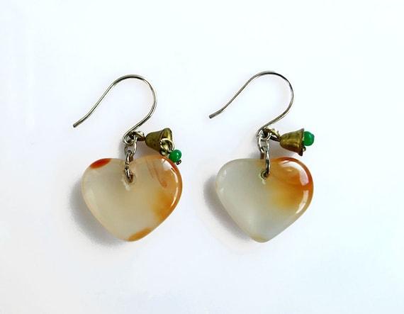 Carnelian Heart Earrings, Valentines Day Earrings, Silver Carnelian Dangle Earrings