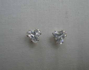 Vintage Clear Large Cut and Faceted Heart Rhinestone Setting on a Post Earrings