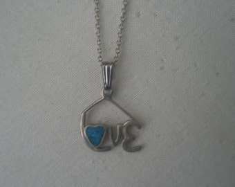 Vintage Sterling Silver and Turquoise LOVE Pendant Necklace