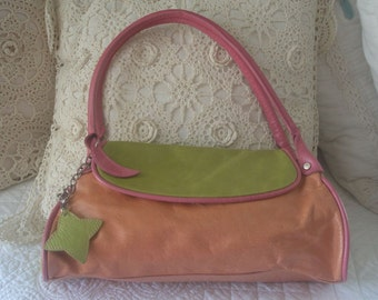 Summer Fun Pink Orange and Lime Green Italian Leather Purse by Claudia