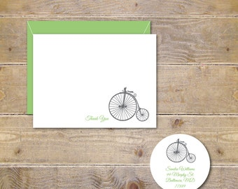 Penny Farthing Bikes, Thank You Cards, Penny Farthing Note Cards, Bicycle Note Cards, Personalized Stationery, Mother's Day, Stationary
