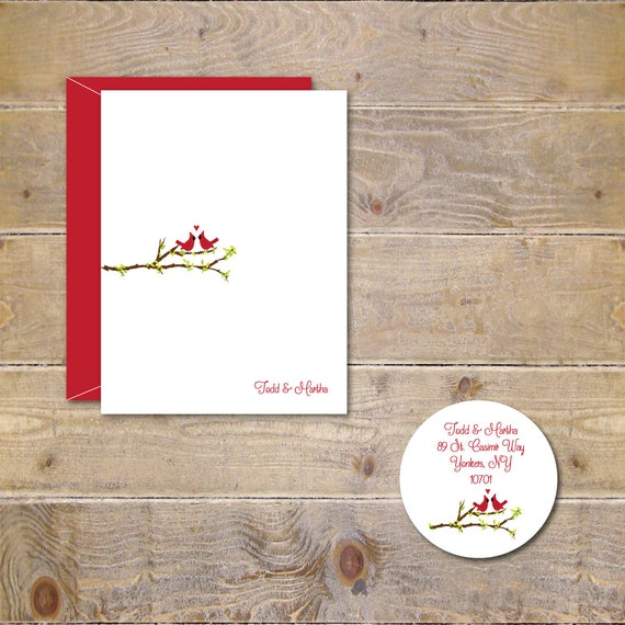 Wedding Thank You Cards, Love Birds, Cardinals, Hearts, Thank You Cards, Bridal Shower,  Thank You Cards, Affordable Weddings