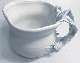 Angel Garden 21, Porcelain Pitcher Vase. Sculpturally Decorative Satin Matte White & Blue