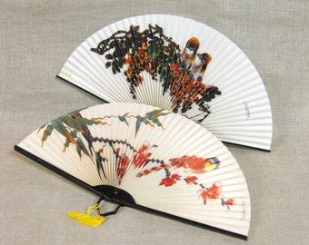 Vintage Asian Paper Fans, Pair, Folding Hand Fan, Collapsible, Purse Accessories, Asian Motif, Birds, Ladies Fan