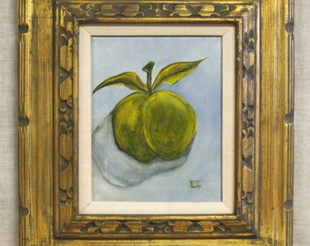 Still Life Painting, Fruit, Green Apple, Original Fine Art, Framed Paintings, Wil Shepherd Studio