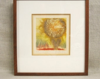 Sunflower , Etching , Fine Art Print , Fine Art , E.A. Print , Sunflower , Framed , Original Art , Flower , Sunflower Print , Vintage Art