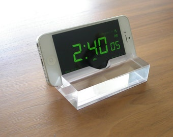 Diamond Clear iPhone stand, Modern Minimalist Phone Stand or Business Card Holder, Great Graduation Gift!