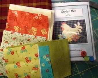 Garden Hen Tea Towel Kit with Pattern