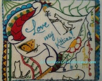 "5 X 7"" Doodle Art Custom Hand Embroidery/Crewel Design on Linen"