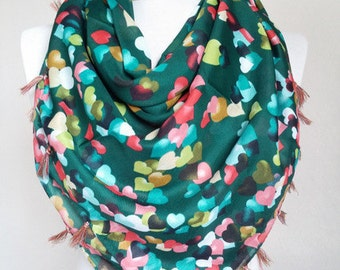 cotton scarf - square scarf - green scarves - scarf fashion - hearts scarf - scarf accessories - scarf sale