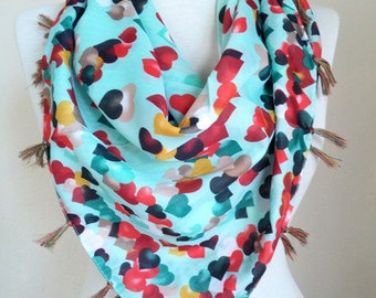Mint Scarf Shawl Scarf square scarf scarf fashion hearts scarf  scarf accessories  scarf sale