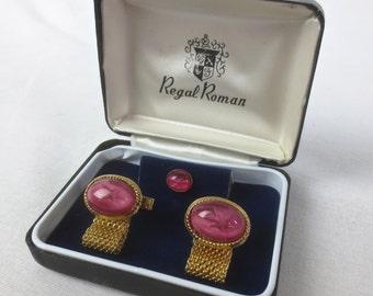 Vintage 3 pc REGAL ROMAN Gold Faux Pink Gem Cuff Links & Tie Pin Set in Original Gift Box
