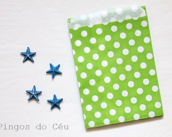 12 pcs - Green Paper Bags - Dots Paper Bags - Treat Bags - Favor Bags - Party Supplies - Ready to ship