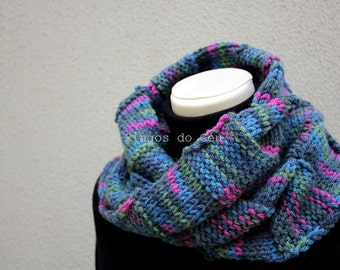 Knitted Neckwarmer in Pink, Green and Blue -Scarf - Handmade by T. Catana - Made to Order: 3-4 business days.