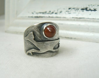 Road Runner Ring - Oxidized Sterling silver and Carnelian Bullet Gemstone Jewelry