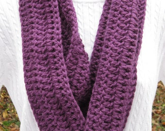 Mulberry Crochet Infinity Scarf, Purple Winter Wear, Bulky Soft Mulberry Neckwarmer, Gifts Under 30, February Birthday Gift, Present for Mom