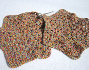 Cotton Dish Cloths or Wash Cloths  Set of Two in Rainbow Colors, Hexagon Dish Cloths, All Cotton Wash Cloths by Charlene