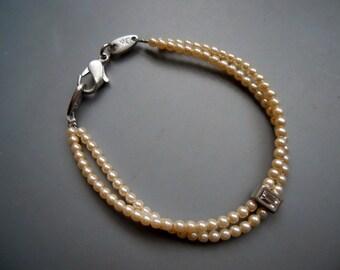 Vintage Retro 80s DK Dyrberg Kern Faux Pearl Mini Bead Double Strand Bracelet, Silver Tone Metal