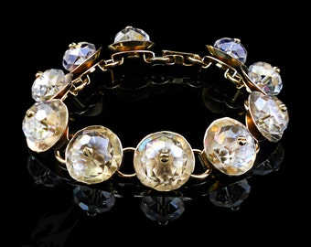 REFLECTOR Series Bracelet ~ Hammered Brass Discs & Faceted Clear Crystal Rondelles on Brass Links ~ #B0114 by Robin Taylor Delargy