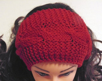 Burgundy Ear Warmer, Hand Knit Head Band, Cable Knit Head Band, Cables Headband